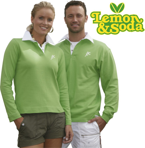 Relatiegeschenk Lemon & Soda rugbyshirt for him bedrukken