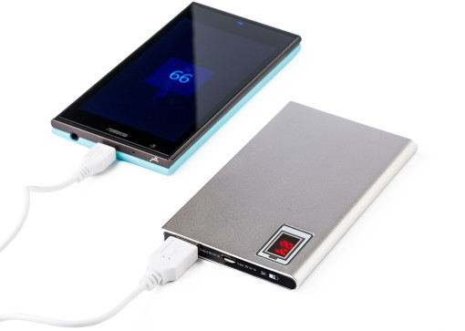 Relatiegeschenk Powerbank Slim met Power Indicatie bedrukken