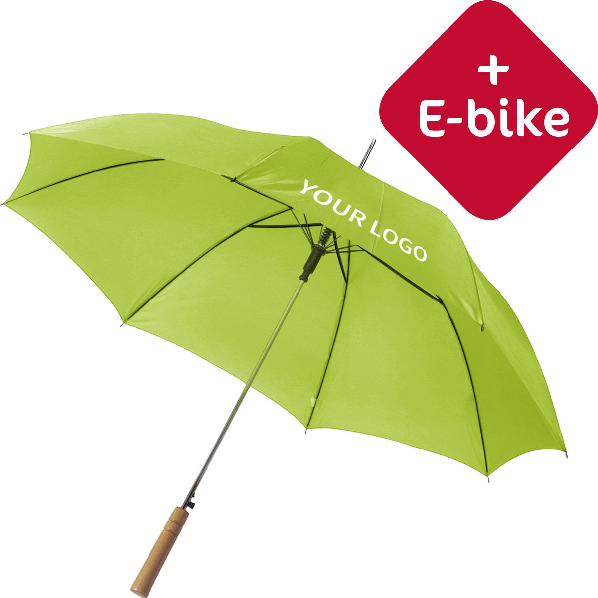 parapluie golf wood avec e bike gratuit imprim avec logo van helden objets publicitaires. Black Bedroom Furniture Sets. Home Design Ideas